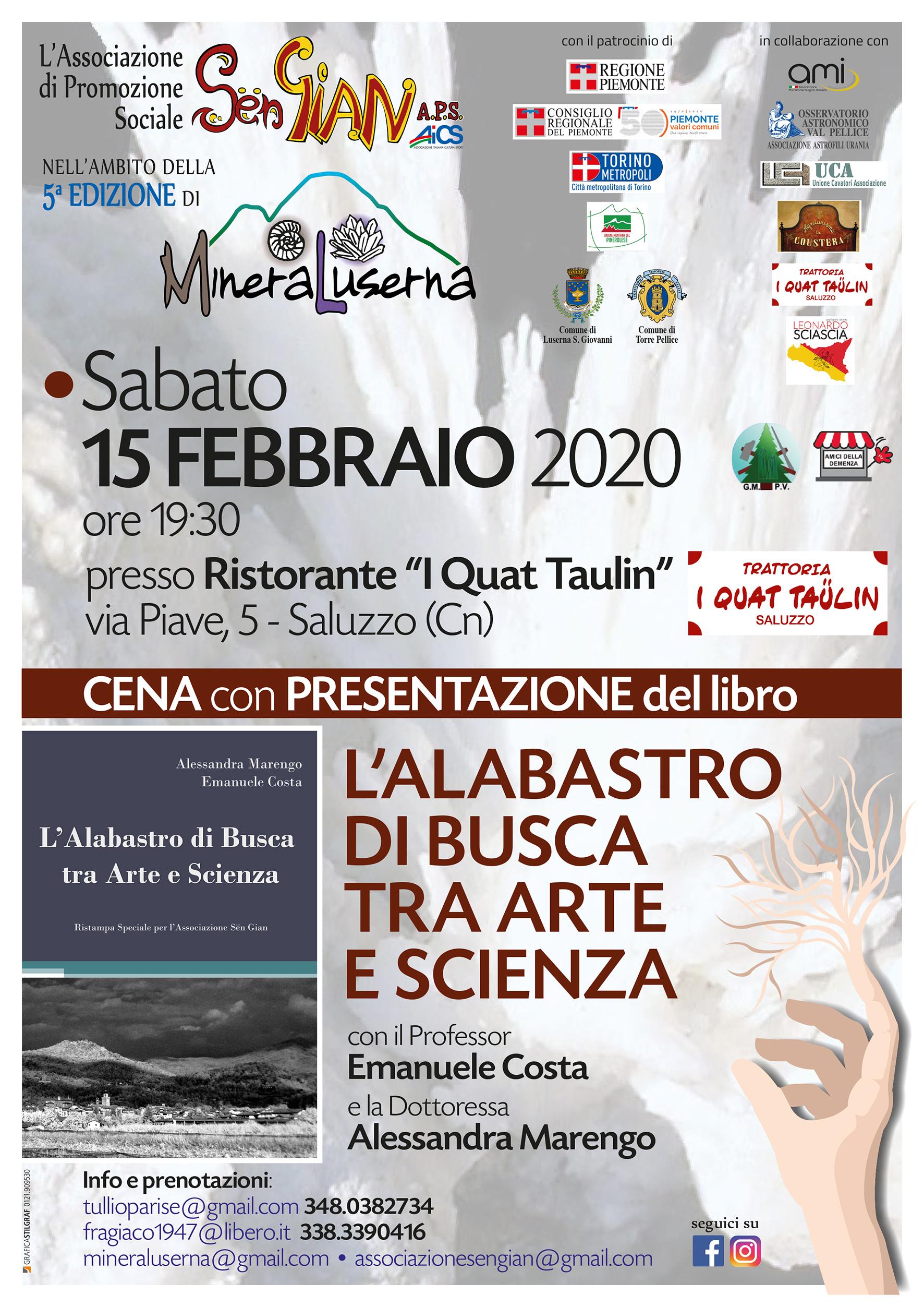 """Rassegna """"MineraLuserna 2020"""": """"L'Alabastro di Busca tra arte e scienza"""""""